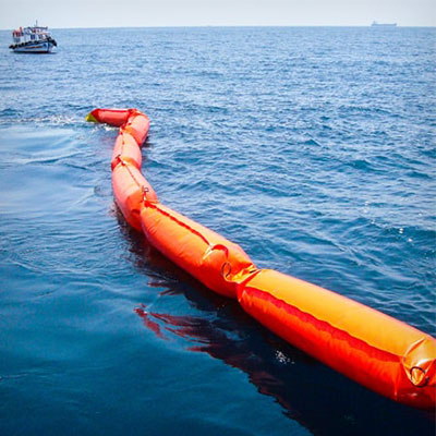 inflatable containment boom foam filled at sea
